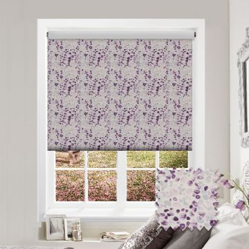 Purple Watercolour Patterned Roller Blind in Eliana Thistle